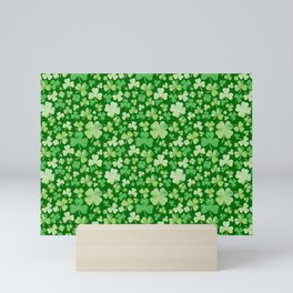Lucky Green Watercolour Shamrock Pattern Mini Art Print