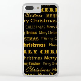 Golden Mery Christmas pattern Clear iPhone Case