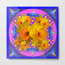 Blue Floral Fuchsia-Pink  Gold Daffodils Pattern Design Metal Print