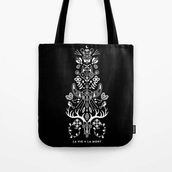 La Vie + La Mort: White Ink Tote Bag