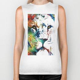 Colorful Lion Art By Sharon Cummings Biker Tank