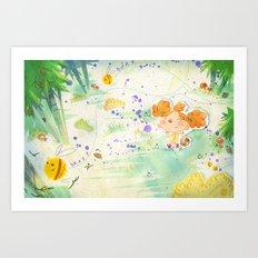 Mushroom hunt_panorama Art Print