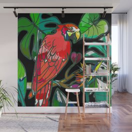 Parrot macaw, tropical bird print Wall Mural