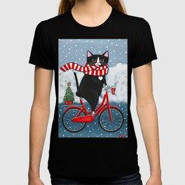 Winter Tuxedo Cat Bicycle Ride T-shirt