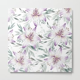 Lilium & Eucalyptus pattern Metal Print