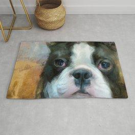 I Adore You Boston Terrier Art Rug