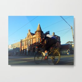 Perseverance Hotel and Cyclist Metal Print