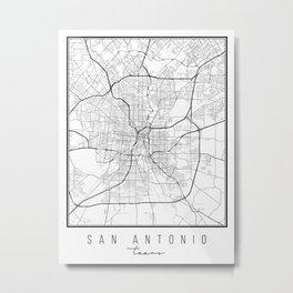 San Antonio Texas Street Map Metal Print