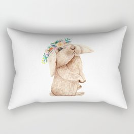 Pretty Floral Garland Bunny Rectangular Pillow
