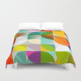 mid century geometry vibrant colors Duvet Cover