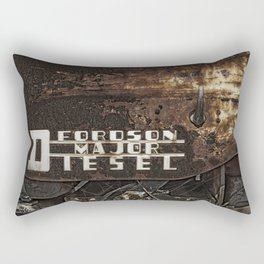 Old Fordson Major Diesel Tractor Emblem on a Rusty Weathered Background Rectangular Pillow