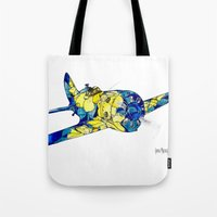 airplane Tote Bags featuring Airplane by Irina  Mushkar'ova