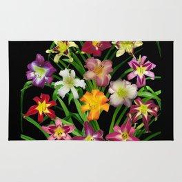 Display of daylilies II on blck Rug