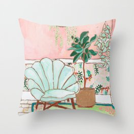 Art Deco Velvet Mint Shell Chair in Jungle Room with Tigers Throw Pillow