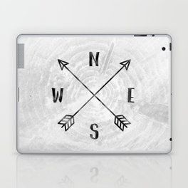 Black and White Wood Grain Compass Laptop & iPad Skin