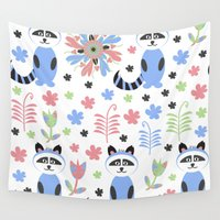 racoon Wall Tapestries featuring Racoon pattern  by luizavictoryaPatterns