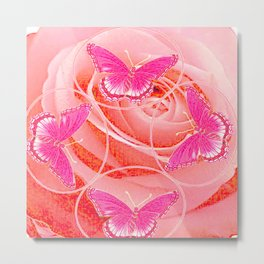 REDDISH PINK ROSES & PURPLE-PINK  BUTTERFLIES MODERN ART Metal Print