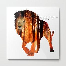 Forest Lion Metal Print
