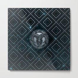 Aries Zodiac Silver Embossed on the Star sky Metal Print