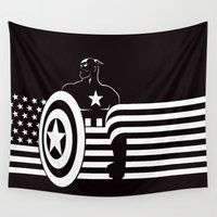 captain silva Wall Tapestries featuring captain by MISTER BLACKWHITE