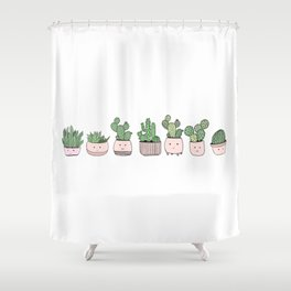 Happy succulent cactuses Shower Curtain
