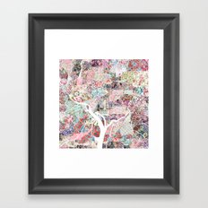 Washington map flowers Framed Art Print