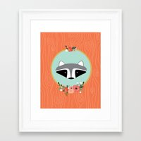 racoon Framed Art Prints featuring Racoon by MiniMoons