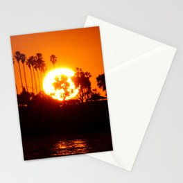 Sunset Behind Palm Trees Stationery Cards