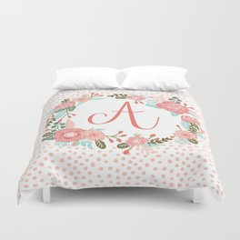 Monogram A - cute girls coral florals flower wreath, coral florals, baby girl, baby blanket Duvet Cover