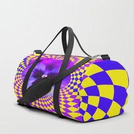 OPTICAL LILAC PURPLE PANSIES YELLOW  GEOMETRIC ART Duffle Bag