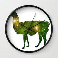 llama Wall Clocks featuring Llama by Lucas de Souza
