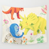 dinosaurs Wall Tapestries featuring Dinosaurs by Maria Garcia