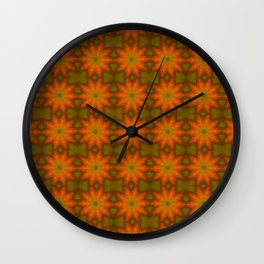 Autumnal Leaves Red and Green Repeating Pattern Wall Clock