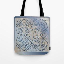 Shalom Tiled - Blue Beige Tote Bag