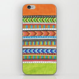 brightly colored patterned stripes iPhone Skin