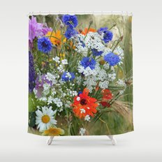 Wildflowers in a summer meadow Shower Curtain