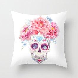 Mexican Skull Bone Candy Calavera Flower Crown Diamond Third Eye Flowers Watercolor Painting Throw Pillow