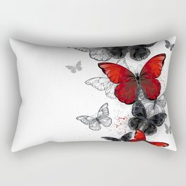 Flying Black and Red Morpho Butterflies Rectangular Pillow