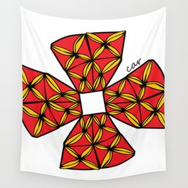 red tapa cross Wall Tapestry