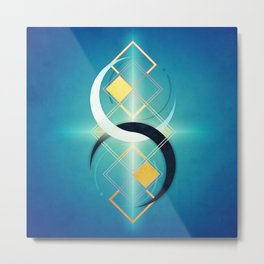 Crescent Moon Double :: Floating Geometry Metal Print