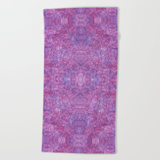 Neon pink and purple swirls doodles Beach Towel