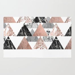 Marble Rose Gold Silver and Floral Geo Triangles Rug