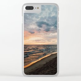 Vibrant Sunset on Lake Michigan Clear iPhone Case