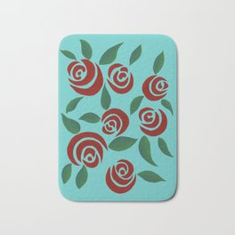 Red Roses with leaves Bath Mat