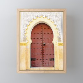 Golden Red Door in Fes, Morocco Framed Mini Art Print