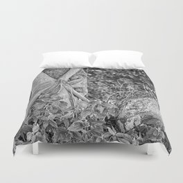 Strangler fig and boulder in the rain forest Duvet Cover