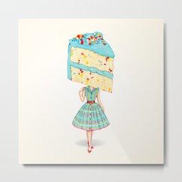 Cake Head Pin-Up: Funfetti Metal Print