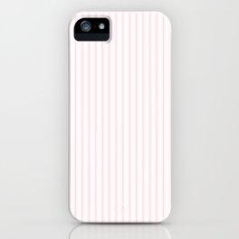 Light Soft Pastel Pink and White Mattress Ticking iPhone Case
