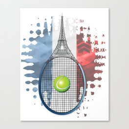 Racquet Eiffel Tower with French flag colors in background Canvas Print