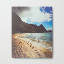 footprints along the beach in Hawaii Metal Print